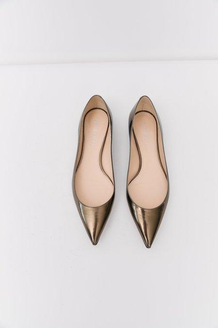 [Pre-Loved] Nina Ricci Pointed-Toe Flats - Metallic