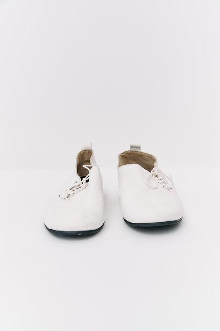 [Pre - Loved] Y's Leather Lace-Up Flats Shoes - White