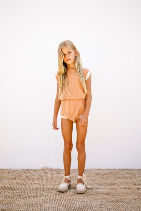 kids Liilu Bloom Terry Romper - orange