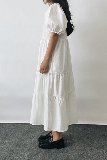 Byrani Balloon Sleeve Cotton Dress
