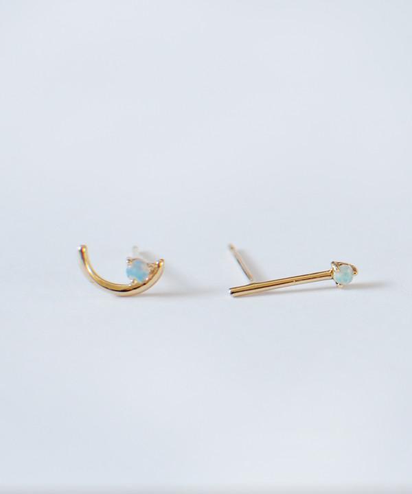 Wwake Offset Opal Arc Stud