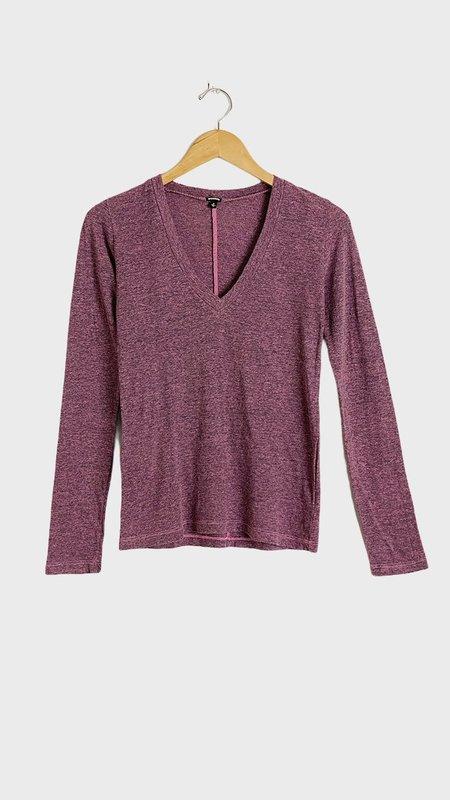 Monrow Long Sleeve V-Neck top - Hot Pink