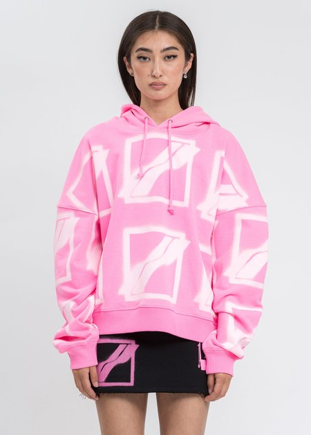 we11done Big Logo All Over Hoodie - Neon Pink