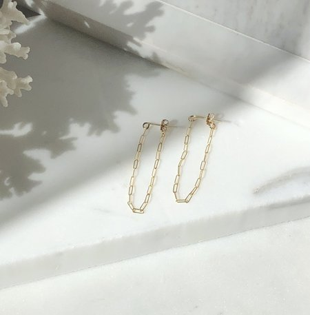 Mabel and Moss Cosette Paper Clip Chain Earrings - gold