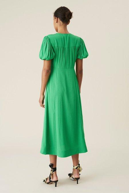 Ganni Ripstop Wrap Midi Dress - Green