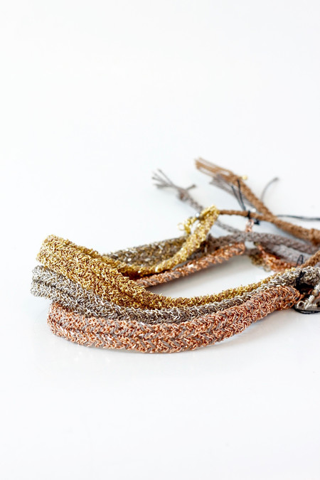 Marie Laure Chamorel Gold Chain And Silk Adjustable Bracelets