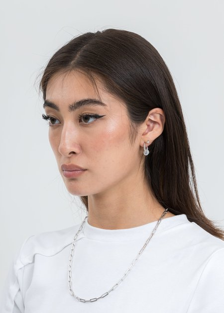 William Shen Single Earring With White Jade - Silver