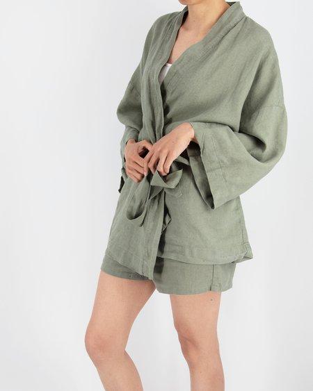 Sunday Morning Rie Short Linen Kimono Set
