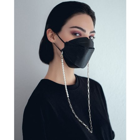 Joomi Lim Pearl & Chain Mask Holder Necklace - Brass