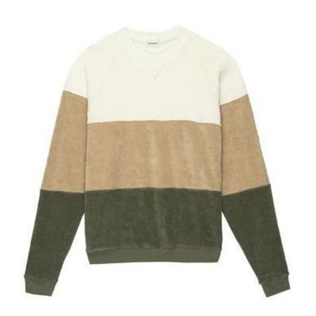 Donni Terry Tri-Crew Sweatshirt - Creme/Latte/Basil