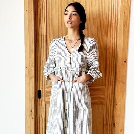 Emerson Fry Livia Shirtdress - Charcoal Stripe