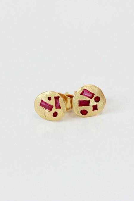 Polly Wales Ruby ear studs