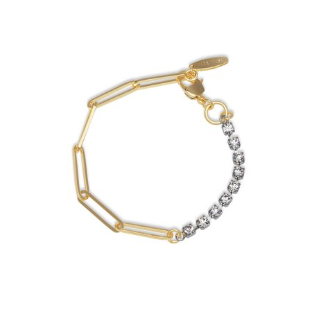 Joomi Lim Asymmetrical Chain & Crystal Bracelet - Gold