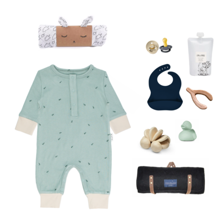 Olive and the Captain Ants Rib Long Sleeve Romper - Blue