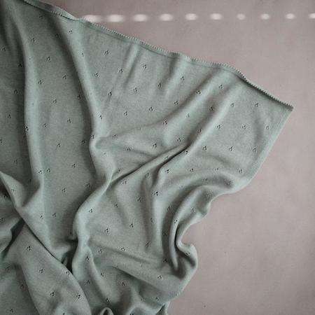 Mushie Knitted Pointelle baby Blanket - Ivory/Sage Melange
