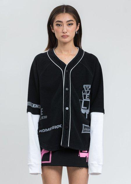 we11done Black Baseball Jersey Long Sleeve Jacket