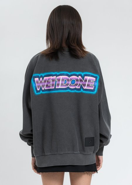 we11done Charcoal Big Lettering Sweater