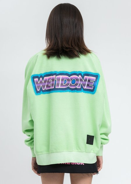 we11done Neon Green Big Lettering Sweater