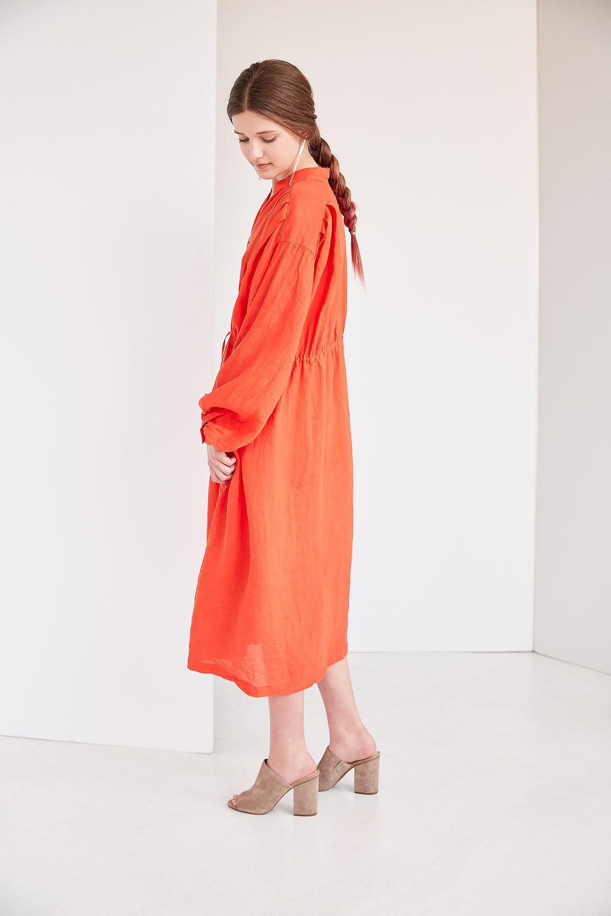 47e39558a5 Black Crane Poet Dress - Paprika