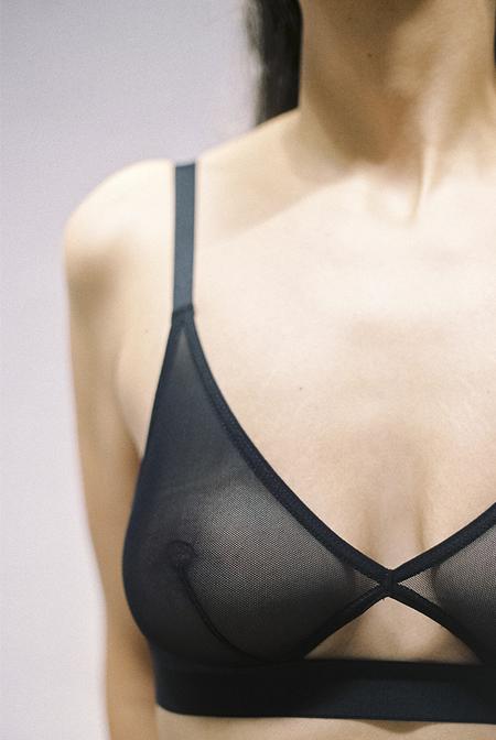 NUDE LABEL Cutout Bra- Sheer Black