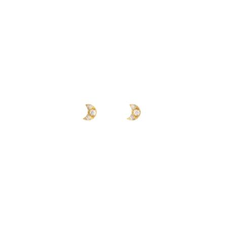 Leah Alexandra Mini Moon Studs - 10k Gold