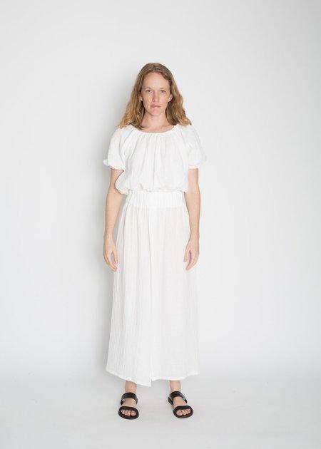 Miranda Bennett Cotton Bubble Gauze Paper Bag Skirt - White