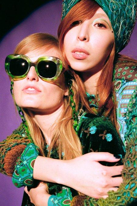 Anna Sui Fellow Earthlings Sunglasses Chain - Green