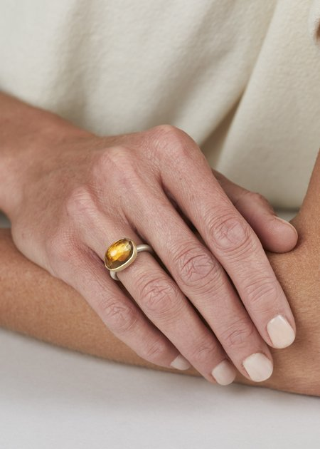 Heather Guidero Large Oval Citrine Ring - Silver/Gold