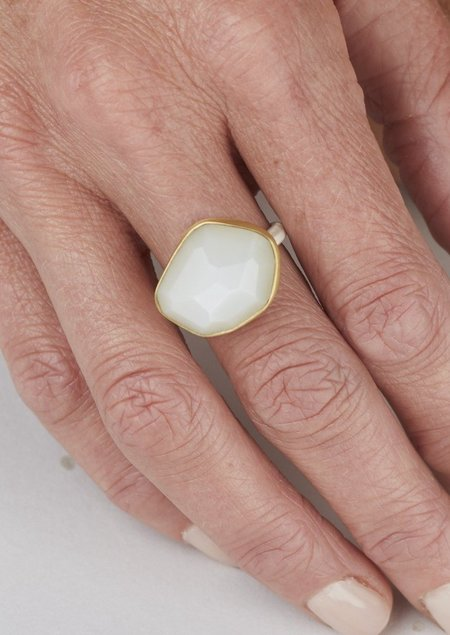 Heather Guidero Larger White Moonstone Ring - Silver/Gold