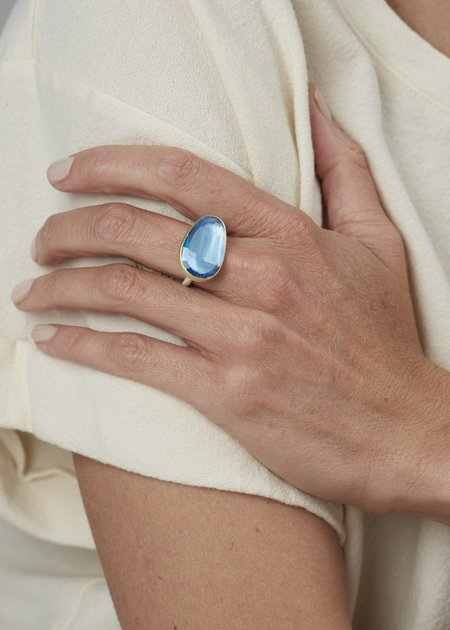 Heather Guidero Rosecut Blue Topaz Ring - Blue/Silver/Gold