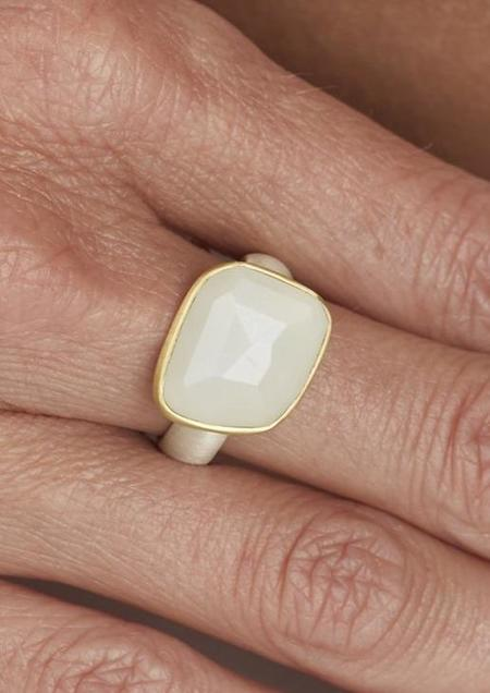 Heather Guidero Rosecut White Moonstone Ring - Sterling Silver/22k