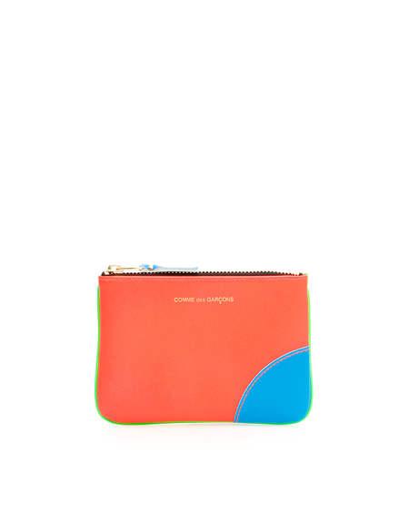 Comme des Garçons Leather Pouch with Zip Wallet - Orange/Green