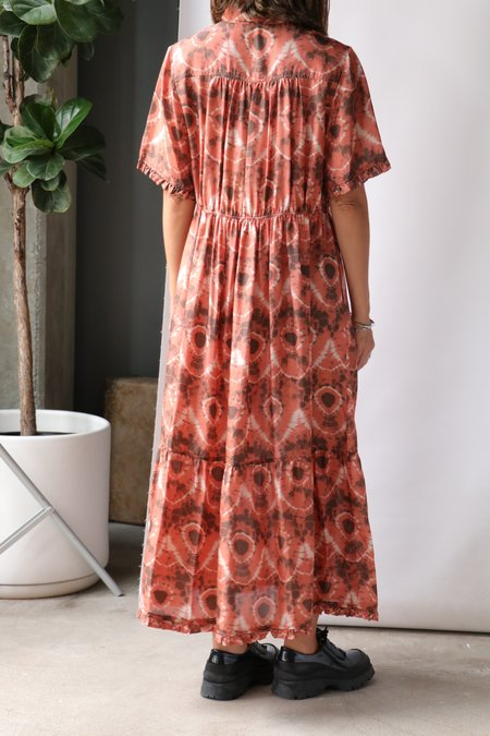 Raquel Allegra Dainty Collar Dress Print - Tie Dye Lace