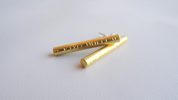 Rod Earrings - Brass