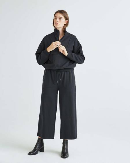 Stretch Limo Terry Half Zip Pullover - Black