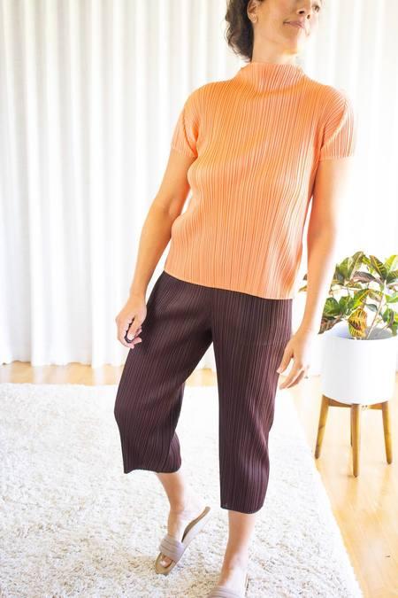 Pleats Please by Issey Miyake Bouquet Mockneck Short Sleeve Top - Coral Orange
