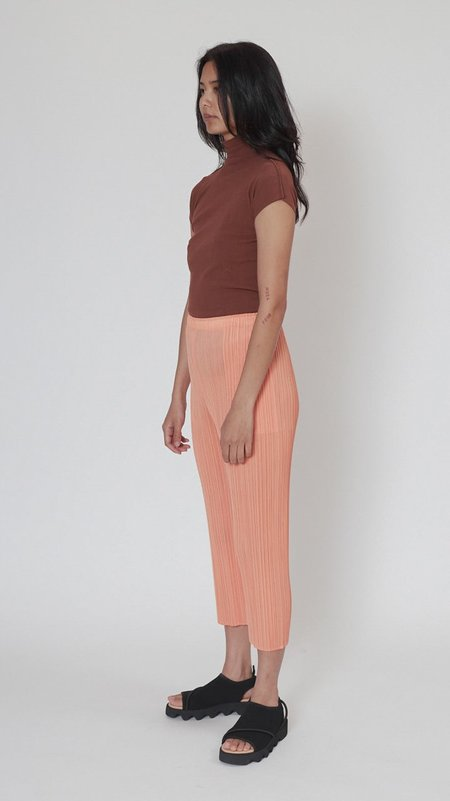 Issey Miyake Pleats Please Bouquet Color Pants - Coral Orange