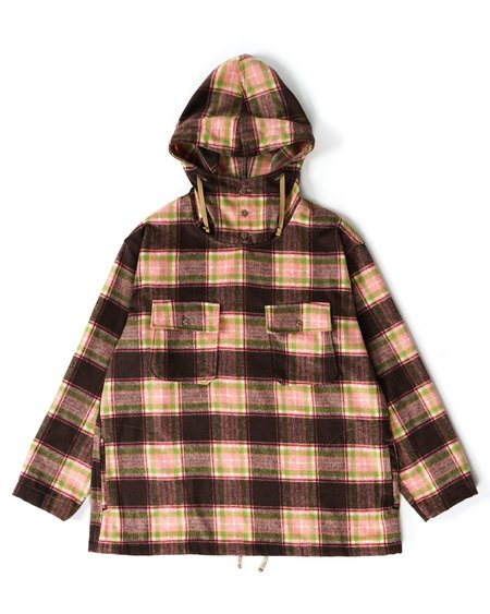 Engineered Garments Cagoule Shirt - Brown/Pink Poly Wool Plaid