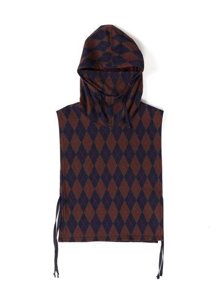 Engineered Garments Hooded Interliner PC Argyle Knit Jersey  - Navy/Brown
