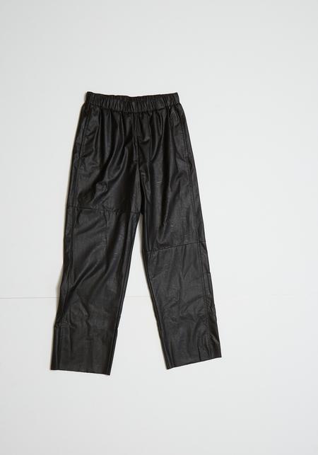MM6 Maison Margiela Faux Leather Pants - Black