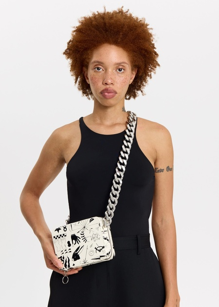 KARA Camera Bag - Black / white Print