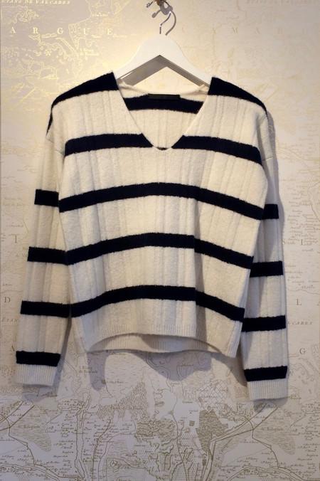 Jenni Kayne Felted Stripe Ribbed Cashmere Sweater