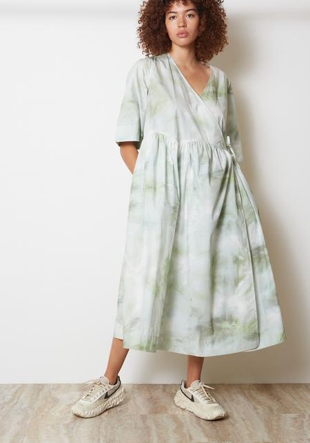 Ganni Printed Cotton Poplin Dress - Kelly Green Watercolor