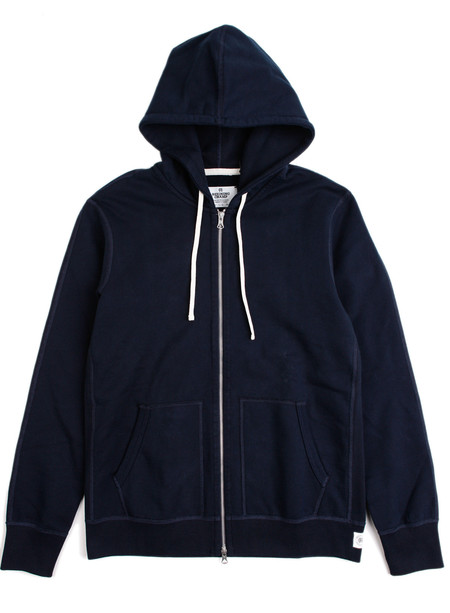 Reigning Champ Knit Mid Wt Terry Full Zip Hoodie Navy