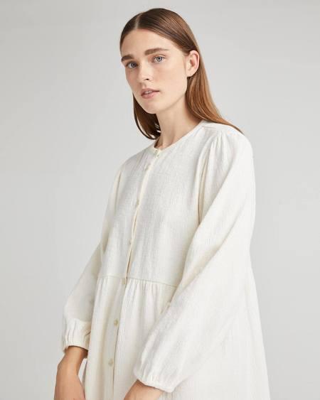 Richer Poorer Cloud Weave Button Up Dress - bone