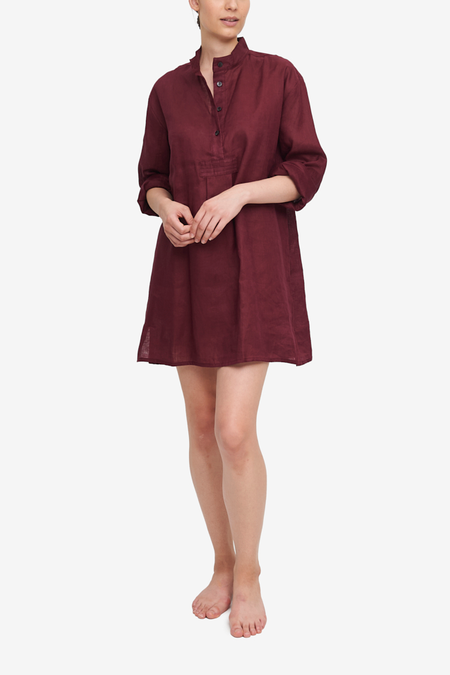 The Sleep Shirt Linen Short Sleep Shirt - Burgundy