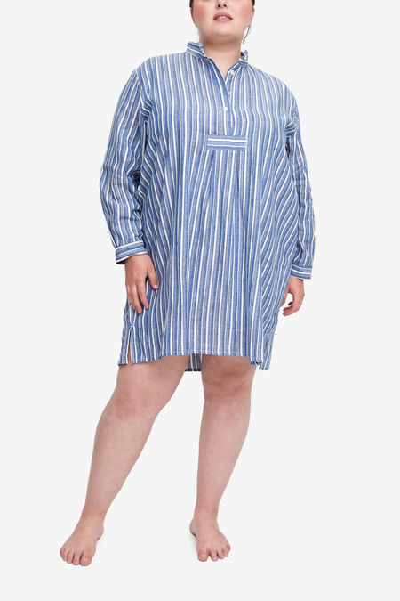 The Sleep Shirt Short Sleep Shirt - Navy Herringbone Stripe