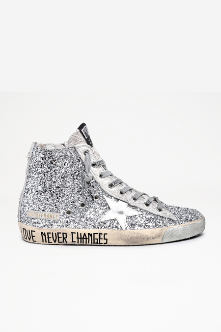Golden Goose Francy  and Long Hair Suede Upper with Love Never Changes Shoes - Silver Glitter