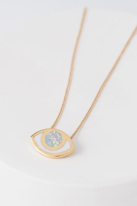 PIA Third Eye Pendant Necklace - Gold & Opal
