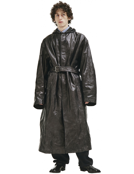 Balenciaga Black Leather Oversized Trench Coat